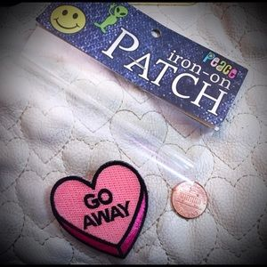Go Away Candy Heart Iron On Patch NWT Adorable!